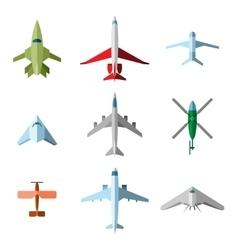set flat airplane vector image