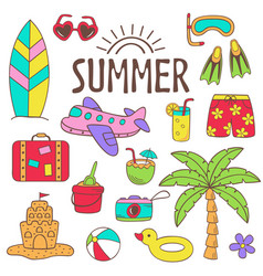 Set isolated summer icon part 2 vector