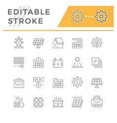 set line icons solar panels vector image