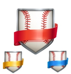 Set of Bright shield in the baseball ball inside vector image