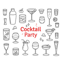 set of cocktails and alcohol drinks vector image