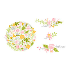 set of flower in pastel colors isolated vector image