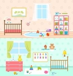 set playrooms for kids barooms interior vector image