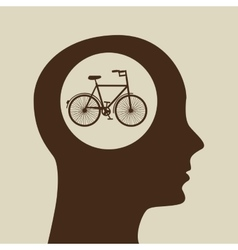 Silhouette head bicycle icon graphic vector