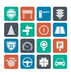 Silhouette Road and Traffic Icons vector image