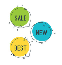 simple best new sale speech bubbles with geometric vector image