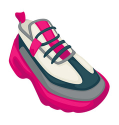 sneakers on massive platform trendy shoes vector image