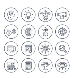 startup line icons set vector image
