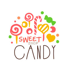 Sweet candy logo colorful hand drawn label vector