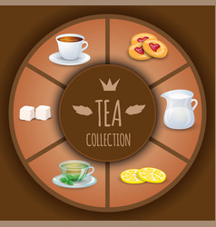 tea collection decorative elements and vector image