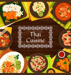 Thai cuisine cartoon poster thailand meals vector