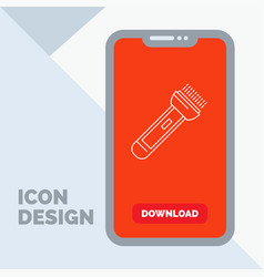 Torch light flash camping hiking line icon in vector