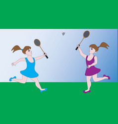 Two girls play a sports game badminton vector