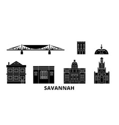 United states savannah flat travel skyline set vector
