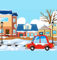 Village scene with car and houses under snow vector