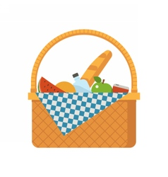 Wicker Picnic Basket vector image