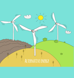 wind generator and green meadows green energy and vector image