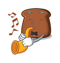 With trumpet brown bread mascot cartoon vector