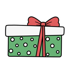 wrapped gift box red ribbon decoration merry vector image