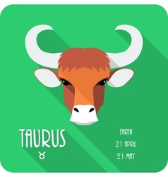 Zodiac sign Taurus icon flat design vector image