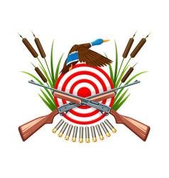 hunt on wild duck emblem vector image vector image