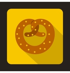 Realistic tasty pretzel icon flat style vector image