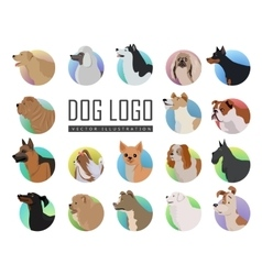 Set of Dog Logos in Flat Style Design vector image vector image