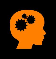 thinking head sign orange icon on black vector image
