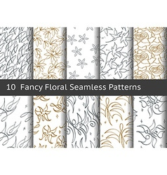 Vintage floral seamless pattern Set of 10 linear vector image