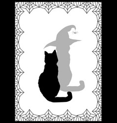 black silhouette of cat and his shadow in witch vector image