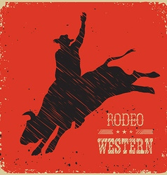 Cowboy riding large wild bullwestern poster vector