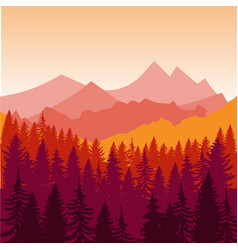 panorama of mountains and forest silhouette vector image vector image