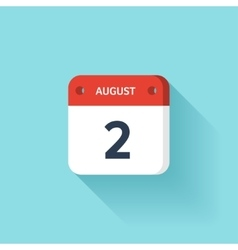 August 2 Isometric Calendar Icon With Shadow vector image vector image