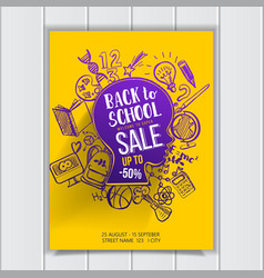 back to school sale on kids contour poster vector image vector image