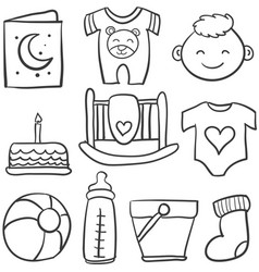Doodle of baby theme with toy cake vector