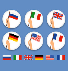 hands holding different countries flags set vector image