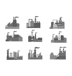 industrial factory or industry plants icons vector image