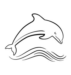 outline of jumping dolphin vector image vector image