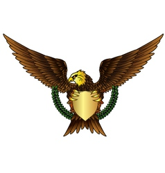 shield and Fury spread winged eagle tattoo vector image vector image