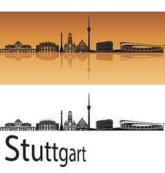 Stuttgart skyline in orange background vector image