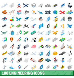 100 engineering icons set isometric 3d style vector image vector image