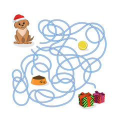 christmas way game help the puppy pass the maze vector image