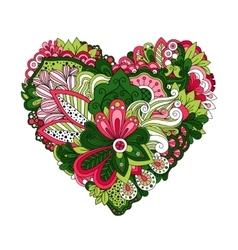 Doodle summer flowers in heart shape vector image