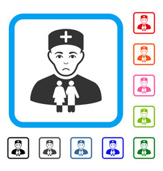 Family doctor framed pitiful icon vector