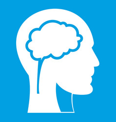 head with brain icon white vector image