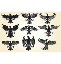 heraldic eagle set vector image vector image