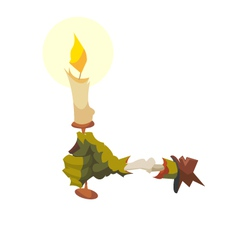 Zombie hand with a candle vector image