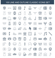 100 classic icons vector