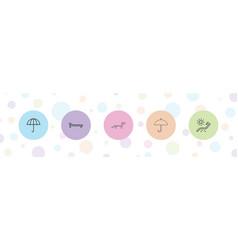 5 parasol icons vector
