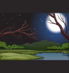 A nature landscape at night vector